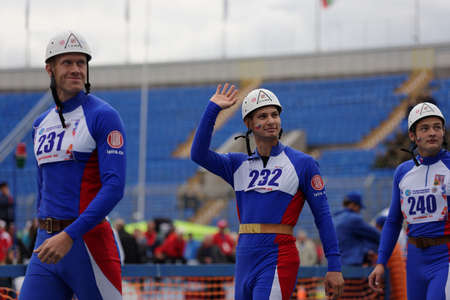 world championship: St. Petersburg, Russia - September 9, 2015: Team Czech Republic before competitions in combat deployment during the XI World Championship in Fire and Rescue Sport. First World Championship was held in 2002