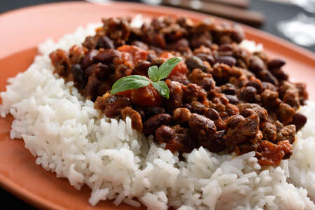 red food: Chili con carne with Basmati rice