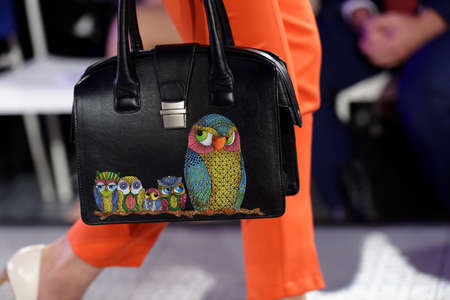 designer bag: St. Petersburg, Russia - September 14, 2015: Bag exposed at the fashion show of the project Showroom 35. The project provides a unique free area for young St. Petersburg designers to expose their fashion collections Editorial