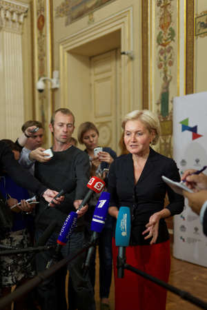 deputy: St. Petersburg, Russia - September 25, 2015: Deputy Prime Minister Olga Golodets talks with press after the meeting of the organizing committee of the St. Petersburg international cultural forum