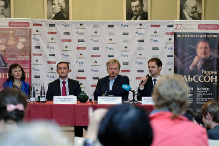 foyer: St. Petersburg, Russia - September 21, 2015: Press conference dedicated to opening of 95th season of Saint Petersburg Philharmonic Hall named after D. Shostakovich Editorial