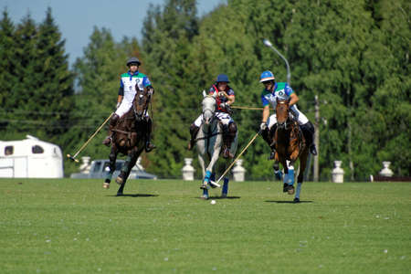Tseleevo, Moscow region, Russia - July 26, 2014: Match British Schools vs Moscow Polo Club during the British Polo Day. Moscow Polo Club won 7-6