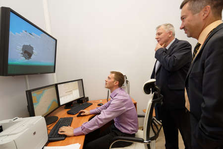 respond: St. Petersburg, Russia - September 22, 2015: Marine simulator in the Ice navigation training center of Krylov state research center. New training programs respond to the latest requirements of International STCW Convention