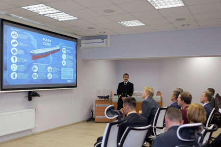 training programs: St. Petersburg, Russia - September 22, 2015: Presentation of the Ice navigation training center in Krylov state research center. New training programs respond to the latest requirements of International STCW Convention Editorial