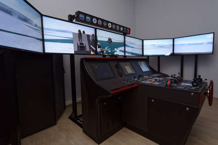 St. Petersburg, Russia - September 22, 2015: Marine simulator in the Ice navigation training center of Krylov state research center. New training programs respond to the latest requirements of International STCW Convention