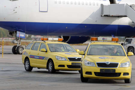 friction: St. Petersburg, Russia - September 24, 2015:  Skoda Octavia Continuous Friction Measuring Equipment of ASFT during the annual review of equipment in the Pulkovo airport. The review is held in order to prepare to winter