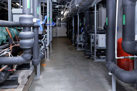pharmaceutical plant: St. Petersburg, Russia - September 24, 2015: Air cleaning subsystem on the Solopharm plant. The new modern pharmaceutical plant was built in accordance with Good Manufacturing Practice standards