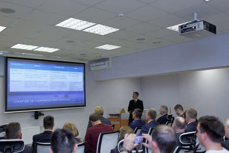 respond: St. Petersburg, Russia - September 22, 2015: Presentation of the Ice navigation training center in Krylov state research center. New training programs respond to the latest requirements of International STCW Convention Editorial