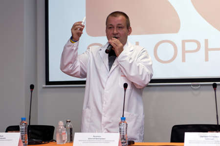 pharmaceutical plant: St. Petersburg, Russia - September 24, 2015: Commercial Director of Solopharm Mikhail Polozov on the presentation. The new modern pharmaceutical plant was built in accordance with Good Manufacturing Practice standards