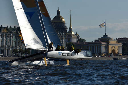 sailing crew: St. Petersburg, Russia - August 20, 2015: Catamaran of SAP Extreme Sailing Team of Denmark during the 1st day of St. Petersburg stage of Extreme Sailing Series. Red Bull Sailing Team of Austria won the day with 58 points Editorial