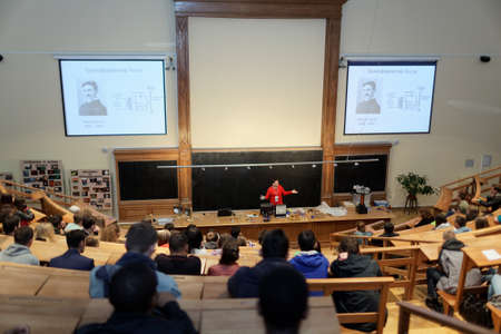 magnetismo: St. Petersburg, Russia - September 19, 2015: People watching physical show Electricity And Magnetism in the Large Physical Auditorium of Peter the Great Saint-Petersburg Polytechnic University during PolyFest. Its the Europe largest university festival o