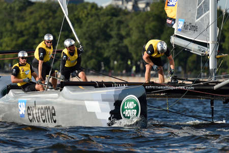 St. Petersburg, Russia - August 20, 2015: Catamaran of SAP Extreme Sailing Team of Denmark during the 1st day of St. Petersburg stage of Extreme Sailing Series. Red Bull Sailing Team of Austria won the day with 58 points Editorial