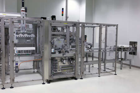 pharmaceutical plant: St. Petersburg, Russia - September 24, 2015: Production of infusion solutions on the Solopharm plant. The new modern pharmaceutical plant was built in accordance with Good Manufacturing Practice standards Editorial