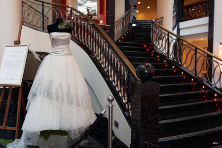 wedding gown: St. Petersburg, Russia - October 9, 2015: Platinum wedding gown designed by Mauro Adami exhibited in the Corinthia Hotel. The dress worth $400,000 will be exposed here during next 2 days