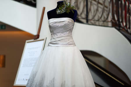 exhibition: St. Petersburg, Russia - October 9, 2015: Platinum wedding gown designed by Mauro Adami exhibited in the Corinthia Hotel. The dress worth $400,000 will be exposed here during next 2 days