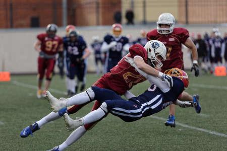 european championship: Pushkin, Leningrad oblast, Russia - October 10, 2015: Qualifying match of American Football European Championship 2016 Russia vs Norway. Russia won the match 20:0