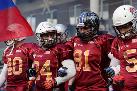 football european championship: Pushkin, Leningrad oblast, Russia - October 10, 2015: American football team Russia during the qualifying match of European Championship 2016 against Norway. Russia won the match 20:0 Editorial