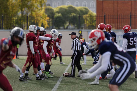 football european championship: Pushkin, Leningrad oblast, Russia - October 10, 2015: Qualifying match of American Football European Championship 2016 Russia vs Norway. Russia won the match 20:0
