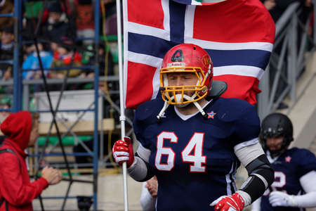 football european championship: Pushkin, Leningrad oblast, Russia - October 10, 2015: American football team Norway enter to the qualifying match of European Championship 2016 against Russia. Russia won the match 20:0 Editorial