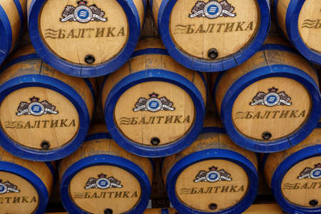 brewery: St. Petersburg, Russia - October 24, 2015: Beer barrels at the Baltika - St Petersburg brewery during the October Beer Festival. The brewery provides guided tours to the plant regularly