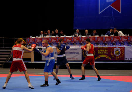 nikolay: St. Petersburg, Russia - October 17, 2015: Demonstration performance of Nikolay Valuyev boxing school during the martial arts festival Baltic Sea Cup in Sibur Arena. The traditional festival is organized by martial arts school of Demid Momot