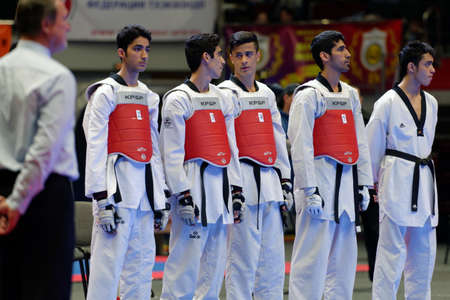 cup of russia: St. Petersburg, Russia - October 17, 2015: Junior team Iran before the match against Russia during the martial arts festival Baltic Sea Cup in Sibur Arena. The traditional festival is organized by martial arts school of Demid Momot