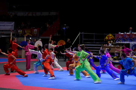 wushu: St. Petersburg, Russia - October 17, 2015: Demonstration performance of St. Petersburg Wushu Federation during the martial arts festival Baltic Sea Cup in Sibur Arena. The traditional festival is organized by martial arts school of Demid Momot
