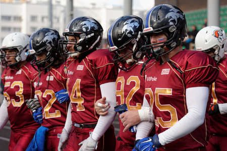 european championship: Pushkin, Leningrad oblast, Russia - October 10, 2015: American football team Russia during the qualifying match of European Championship 2016 against Norway. Russia won the match 20:0 Editorial