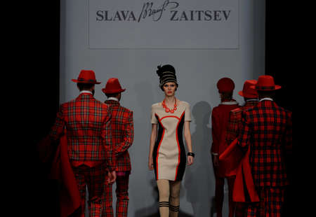 show: St. Petersburg, Russia - October 28, 2015: Collection of Slava Zaitsev at the fashion show during Mercedes-Benz Fashion Day St. Petersburg. It is one of the most popular fashion events of the city Editorial