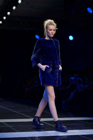 St. Petersburg, Russia - October 27, 2015: Collection of Fur House ZIMA at the fashion show during Mercedes-Benz Fashion Day St. Petersburg. It is one of the most popular fashion events of the city Publikacyjne