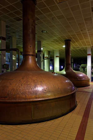 carlsberg: St. Petersburg, Russia - October 24, 2015: Vintage brewing boilers at the Baltika - St Petersburg brewery during the October Beer Festival. This boilers now is not used in production