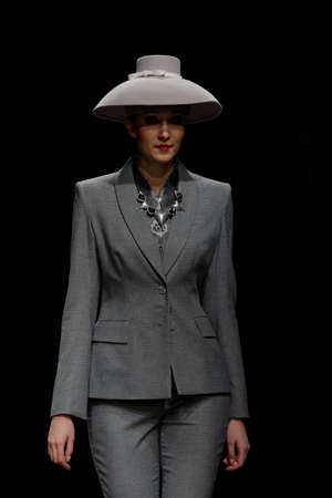 pantsuit: St. Petersburg, Russia - October 28, 2015: Collection of Slava Zaitsev at the fashion show during Mercedes-Benz Fashion Day St. Petersburg. It is one of the most popular fashion events of the city Editorial