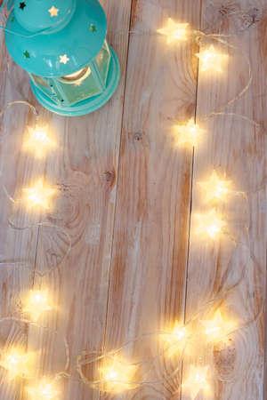 festoon: Christmas frame with illuminated festoon and lantern