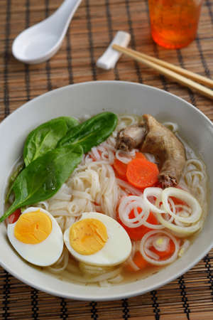 chinese cuisine: Duck soup with rice pasta and vegetables