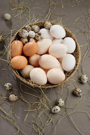 white eggs: Various eggs in a rustic basket