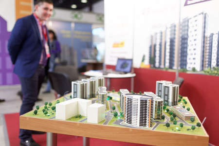 october 31: St. Petersburg, Russia - October 31, 2015: 3D model of new residential structures during the Real Estate Fair. It is the largest real estate exhibition in Russia, presenting urban and suburban property