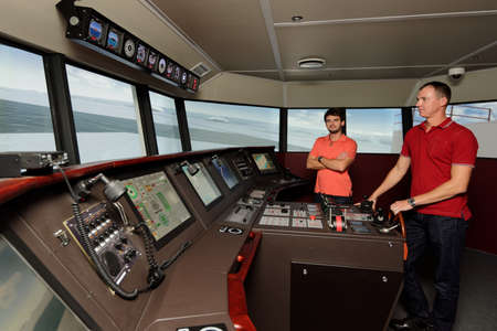 simulations: St. Petersburg, Russia - September 22, 2015: Marine simulator in the Ice navigation training center of Krylov state research center. New training programs respond to the latest requirements of International STCW Convention