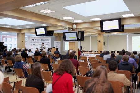 meeting people: St. Petersburg, Russia - November 13, 2015: Creator of Eiffel programming language Bertrand Meyer at the conference Tools  Methods of Program Analysis in the Saint-Petersburg Polytechnic University Editorial