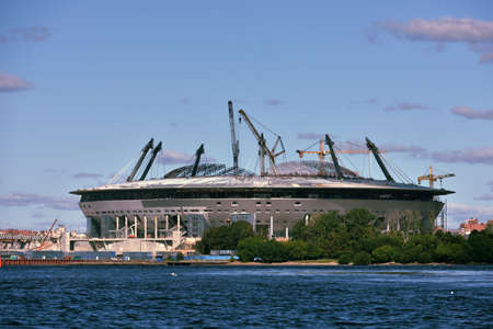 planned: St. Petersburg, Russia - August 15, 2015: Construction of the stadium Zenit-Arena in the West side of Krestovsky island. The planned capacity of new arena is 68,000 spectators