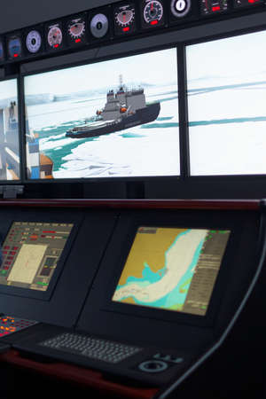 training programs: St. Petersburg, Russia - September 22, 2015: Marine simulator in the Ice navigation training center of Krylov state research center. New training programs respond to the latest requirements of International STCW Convention