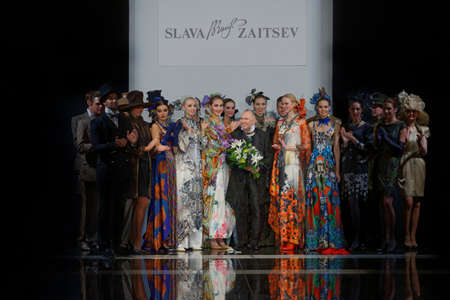 fashion show: St. Petersburg, Russia - October 28, 2015: Slava Zaitsev center with his collection at the fashion show during Mercedes-Benz Fashion Day St. Petersburg. It is one of the most popular fashion events of the city Editorial