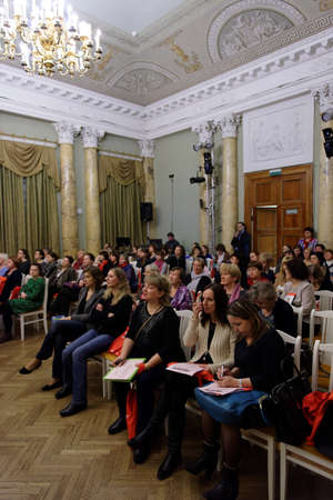 st german: St. Petersburg, Russia - November 21, 2015: Day of German teachers in the Anichkov palace. The event is organized by the Goethe-Institut in Saint-Petersburg