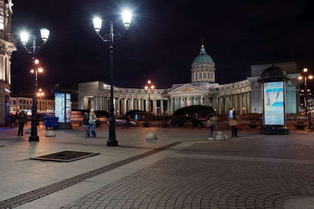 malaya: St. Petersburg, Russia - October 25, 2015: Night view to Kazan Cathedral from Malaya Koniushennaya street. The temple was built in 1801-1811 by design of Andrey Voronikhin