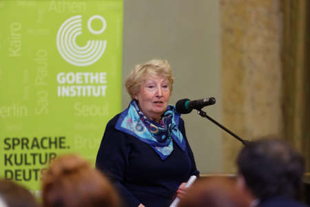 st german: St. Petersburg, Russia - November 21, 2015: President of Russian association of German teachers Galina Perfilova delivers the opening remarks during the Day of German teachers in the Anichkov palace. The event is organized by the Goethe-Institut in Saint-