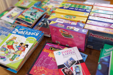 st german: St. Petersburg, Russia - November 21, 2015: Books and manuals for learning German during the Day of German teachers in the Anichkov palace. The event is organized by the Goethe-Institut in Saint-Petersburg Editorial