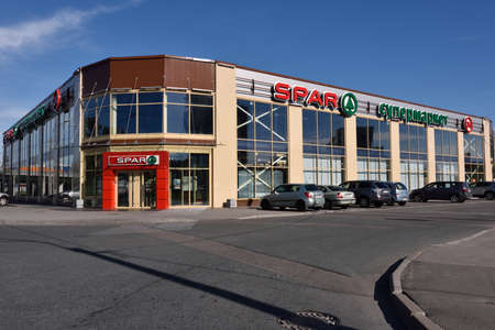 spar: St. Petersburg, Russia - August 09, 2015: People at the supermarket SPAR, 7a, Repninskaya street. Founded in Netherlands in 1932, SPAR works in Russia since 2000