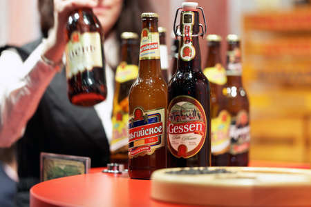 exhibition: St. Petersburg, Russia - November 18, 2015: Beer in the International food exhibition PeterFood. The exhibition is setting up contacts between food manufacturers and retail networks