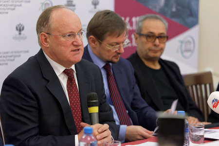 st  petersburg: St. Petersburg, Russia - December 3, 2015: Vice-Governor of St. Petersburg Vladimir Kirillov (left) during the press conference devoted to the preparations for St. Petersburg International cultural forum