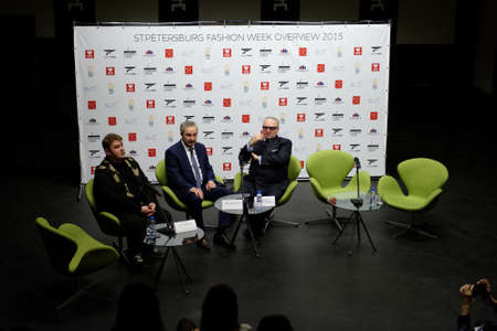 sums: St. Petersburg, Russia - December 5, 2015: Round table discussion supported by the city government during St. Petersburg Fashion Week Overview. The event sums up the year