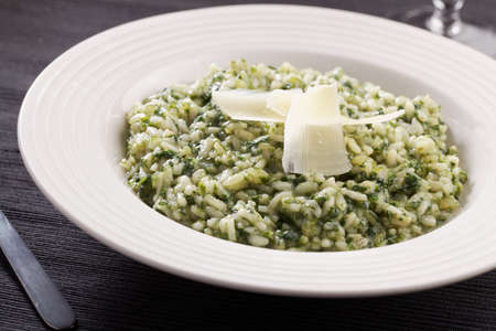 parmesan cheese: Spinach risotto with Parmesan cheese
